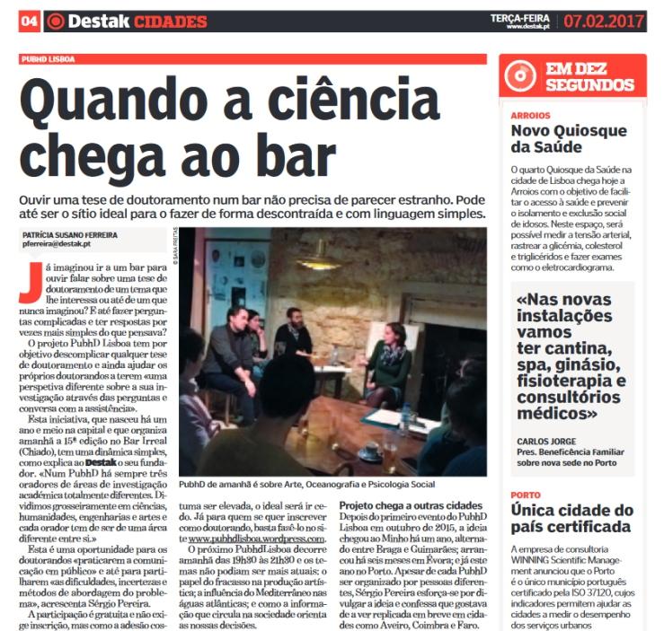 PubhD de Lisboa no Destak de 7 de fevereiro 2017